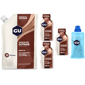 GU Energy Gel Sports Nutrition Chocolate Outrage Storage Bag 480g + 3x32g Gels + Flask